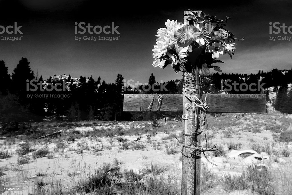 roadside cross bw royalty-free stock photo