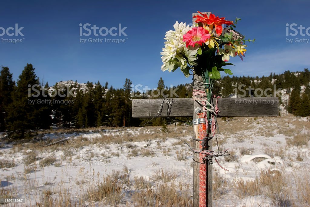 roadside cross (color version) royalty-free stock photo