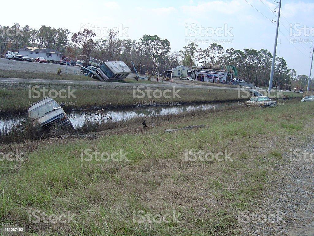 Roadside destruction stock photo