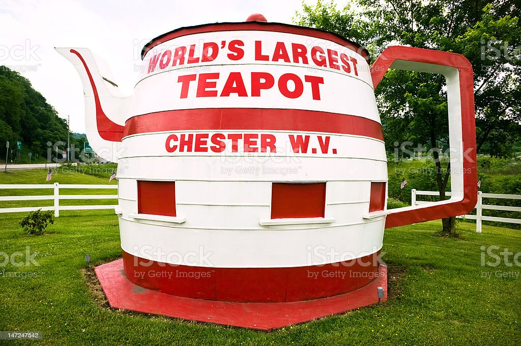 Roadside Kitsch Largest Teapot In The World stock photo