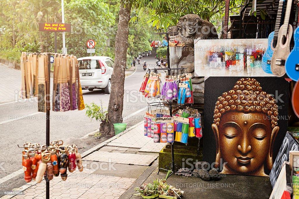 Roadside Market on Ubud's Monkey Forest Road stock photo