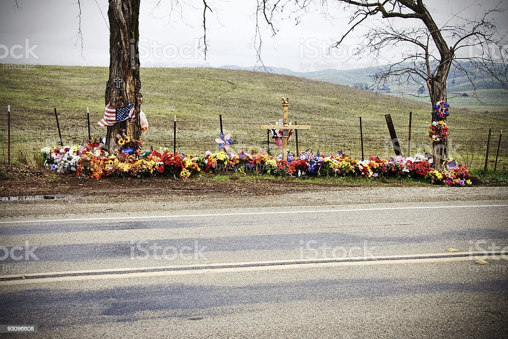 Roadside Memorial in California USA stock photo