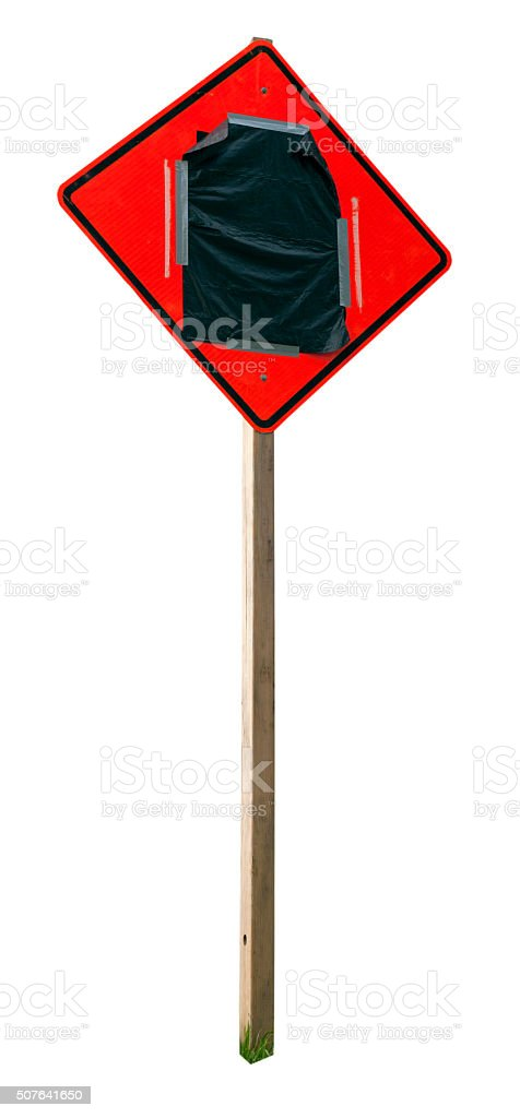 Roadside Warning Sign Covered with Black Plastic stock photo