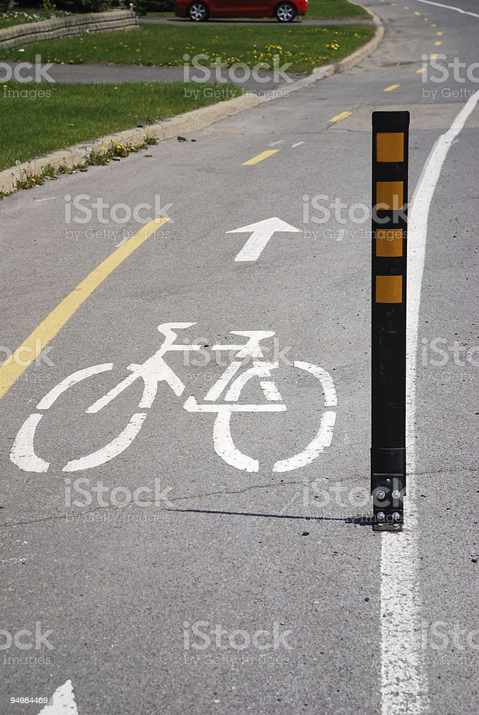 Roadside with bicycle lane royalty-free stock photo