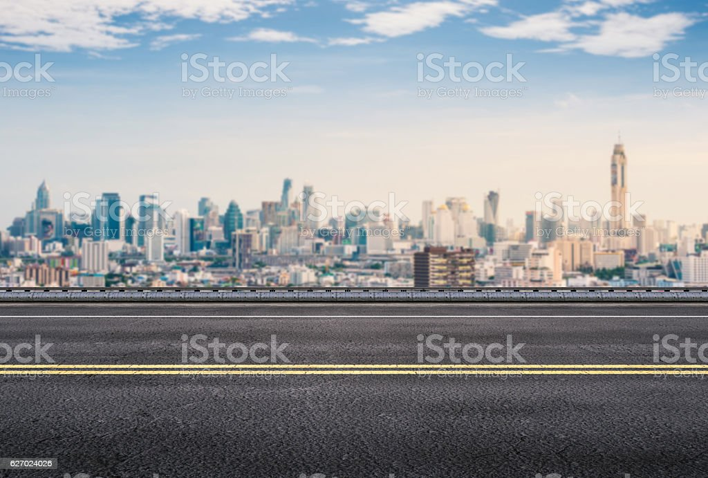 roadside with cityscape background stock photo