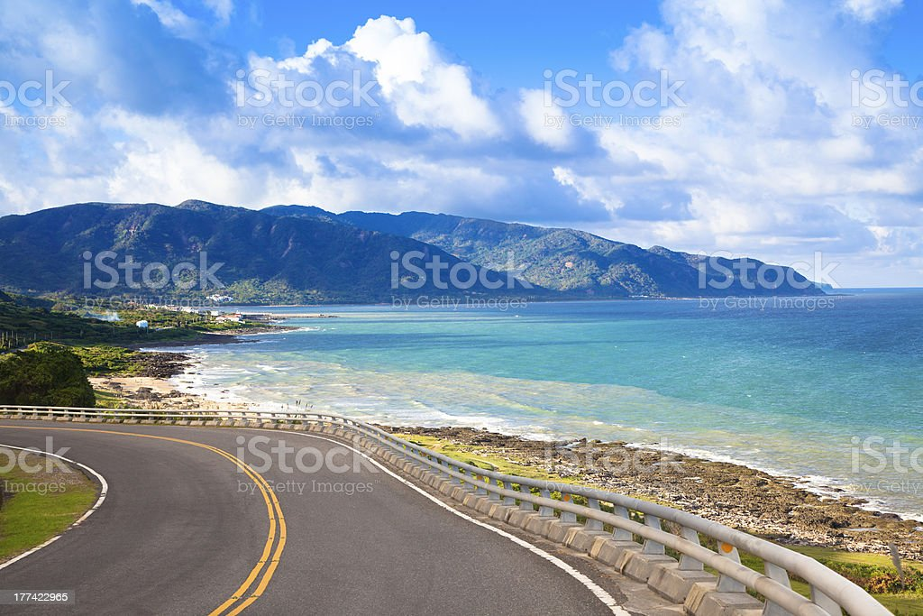 Roadside with ocean view of Kenting National Park, Taiwan stock photo