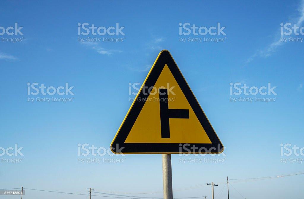 roadsign in blue sky stock photo