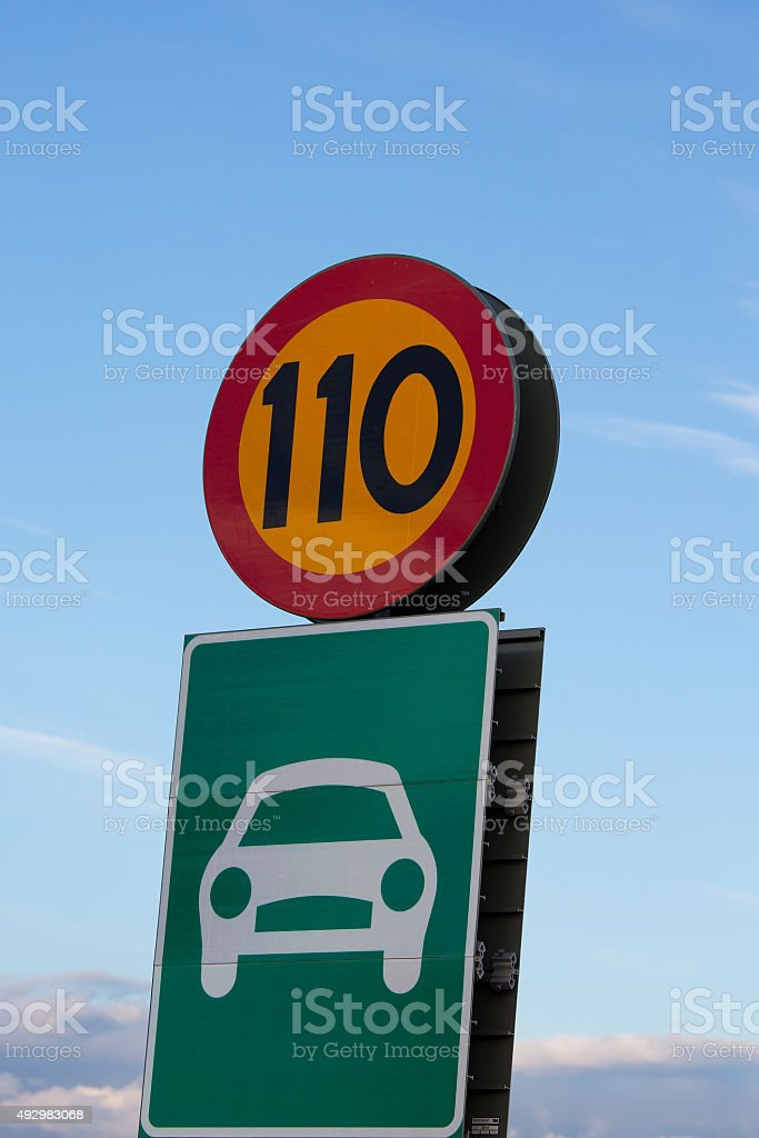 Roadsign speedlimit stock photo