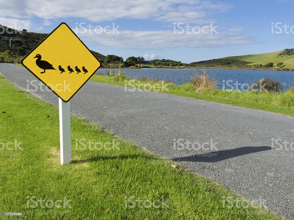 Roadsign warning, ducks with ducklings crossing royalty-free stock photo