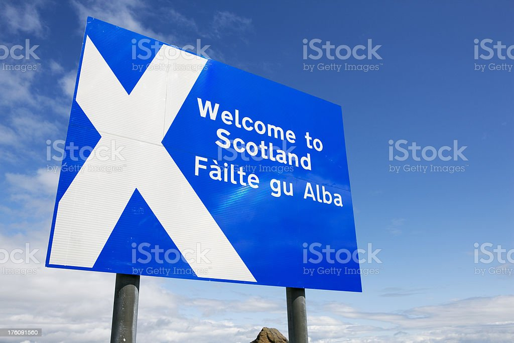 roadsign welcome to scotland royalty-free stock photo