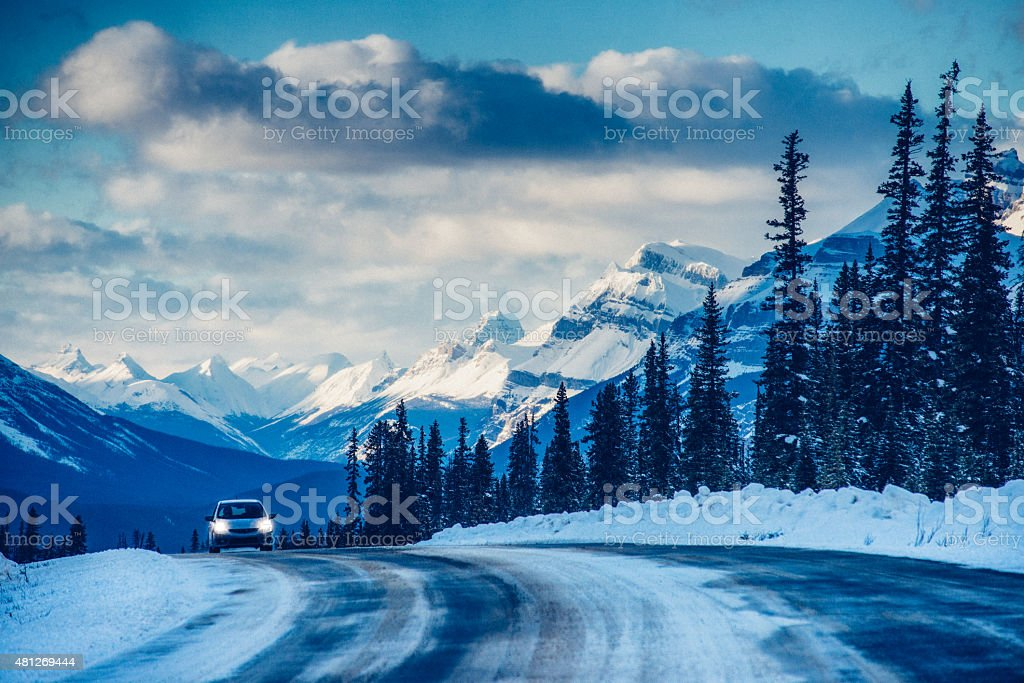 Roadtrip on Icefields Parkway in Banff National Park Canada stock photo