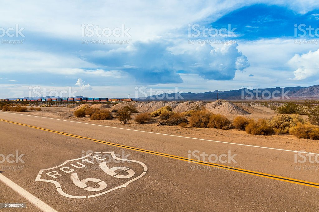 Roadtrip on Route 66 highway with sign on the road stock photo
