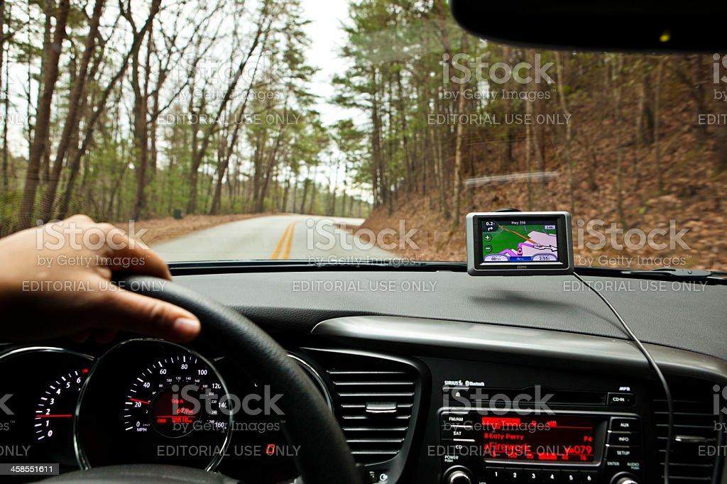 roadtrip using a gps stock photo