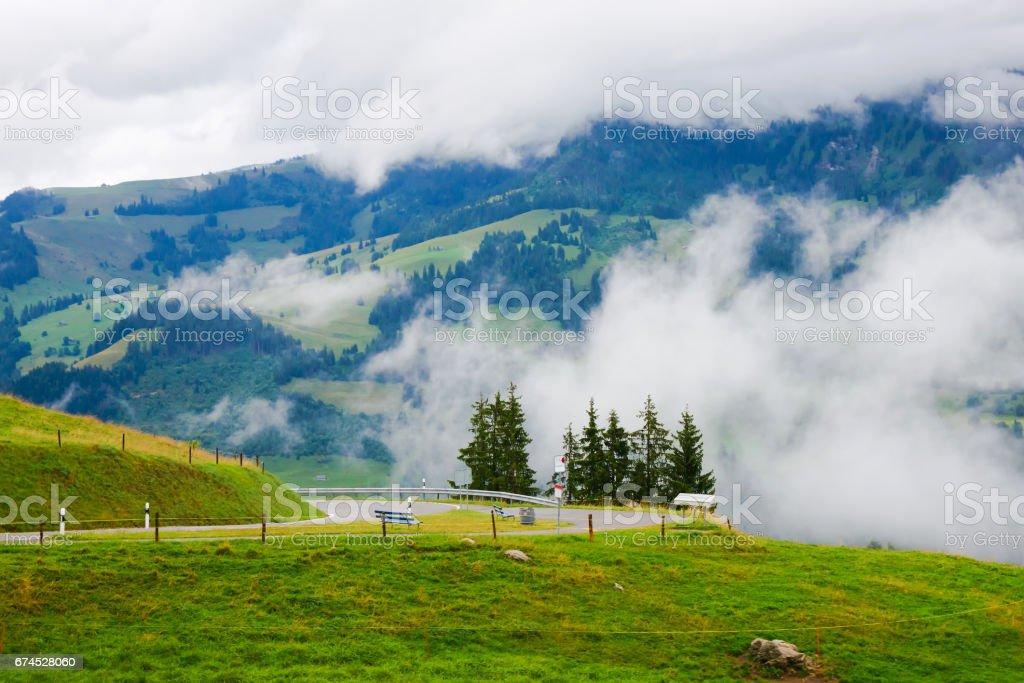 Roadway in Boltigen at Jaun Pass Fribourg of Switzerland stock photo