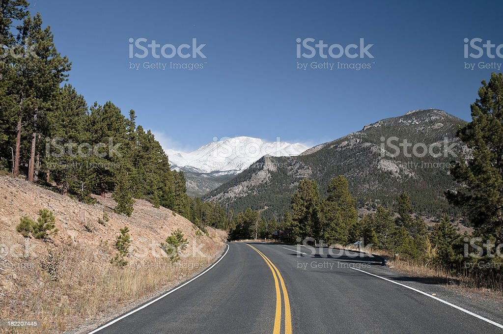 Roadway in Rocky Mountain National Park, Colorado royalty-free stock photo