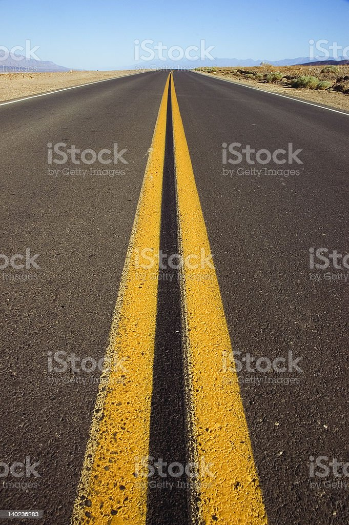 Roadway or Highway leading into distance stock photo