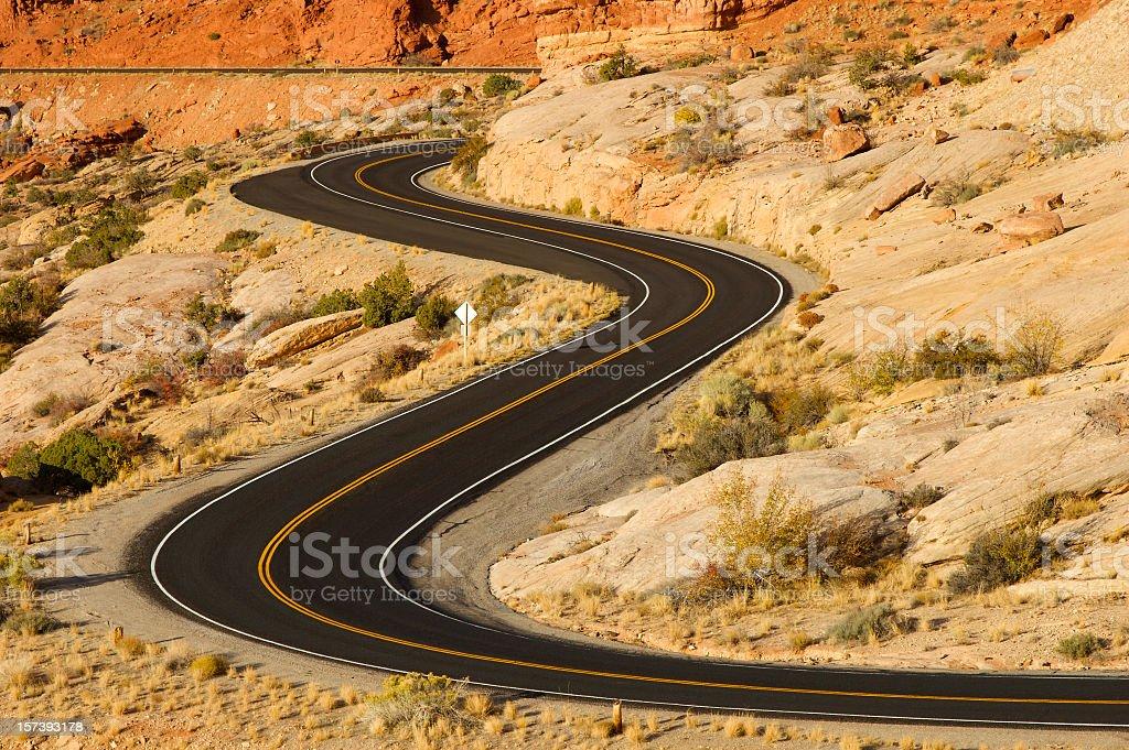 Roadway system of the Utah desert royalty-free stock photo