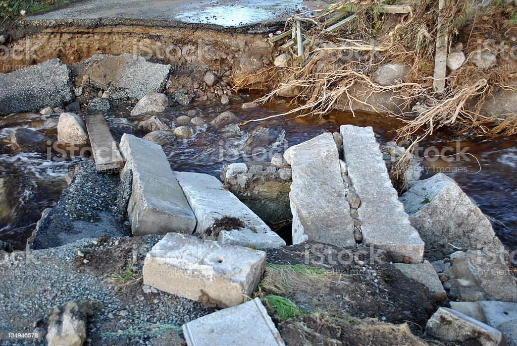 roadway washed away with flash floods stock photo