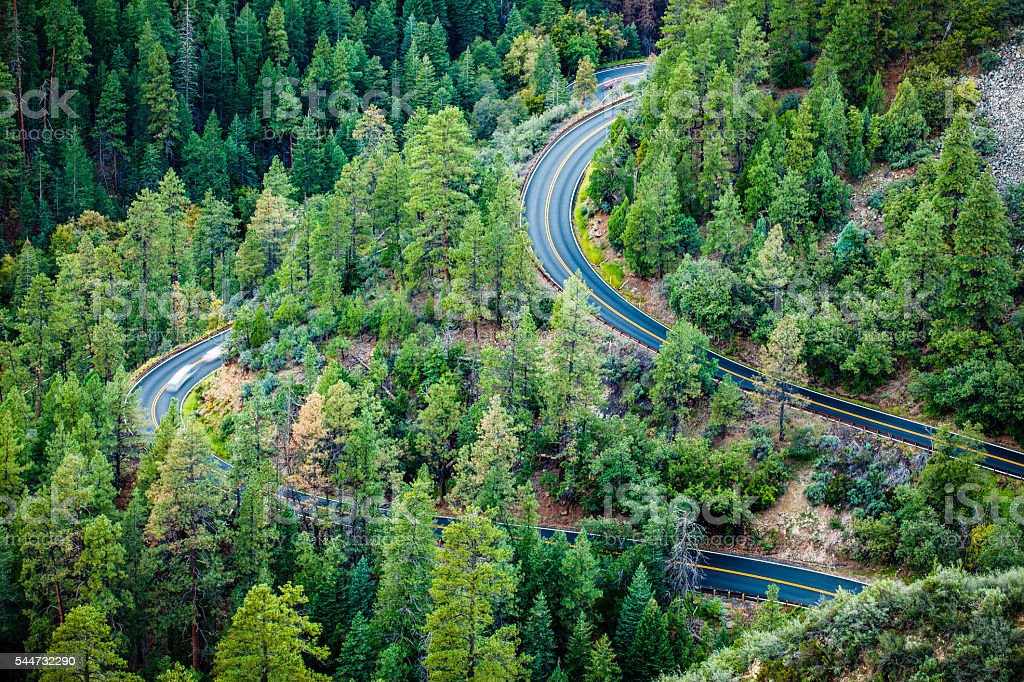 Roadway Winding Up Through Coconino National Forest, Arizona stock photo