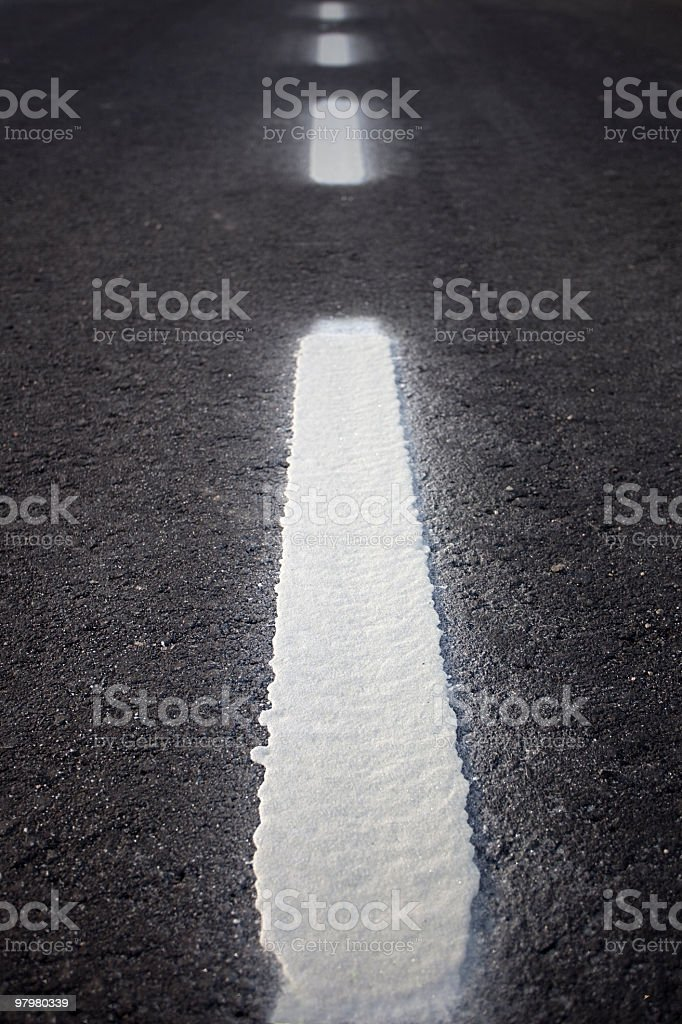 Roadway with discontinuous line royalty-free stock photo