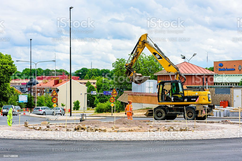 Roadwork at roundabout stock photo