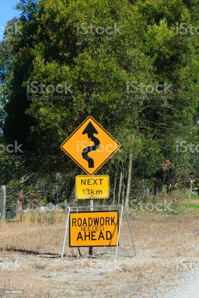 Roadwork needed ahead sign stock photo