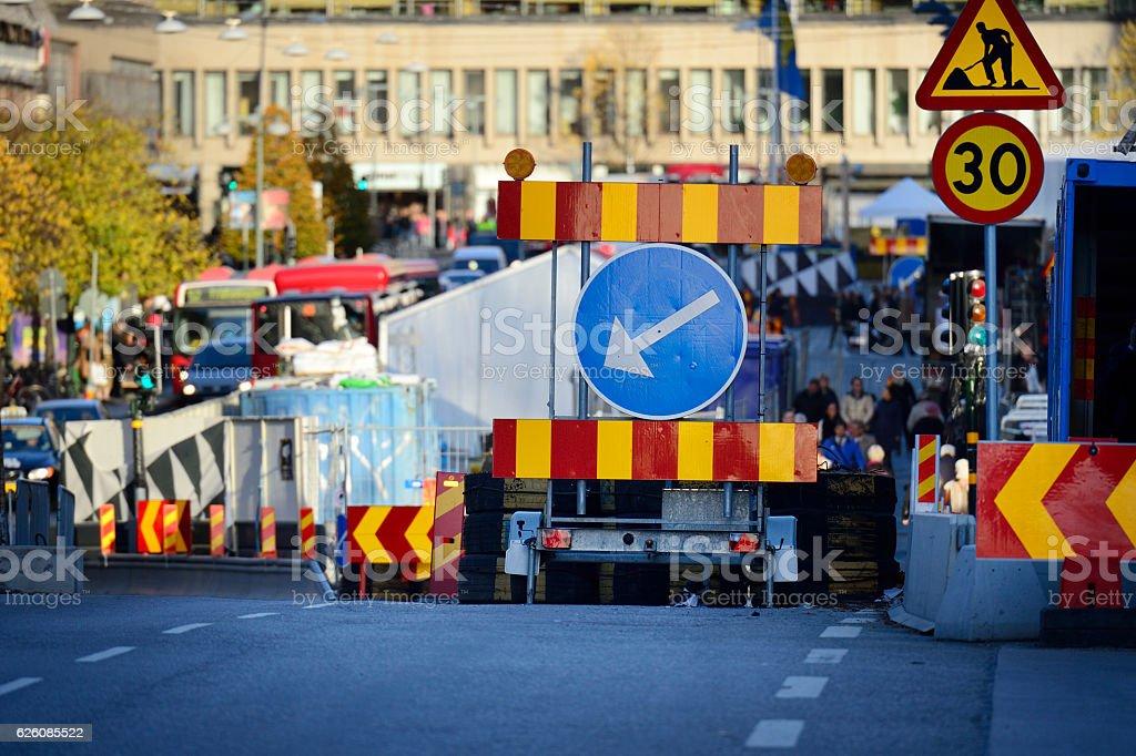 Roadwork on Swedish road stock photo