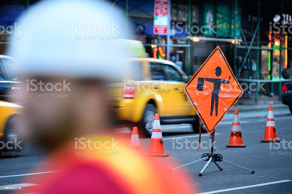 Roadwork on the NYC road stock photo