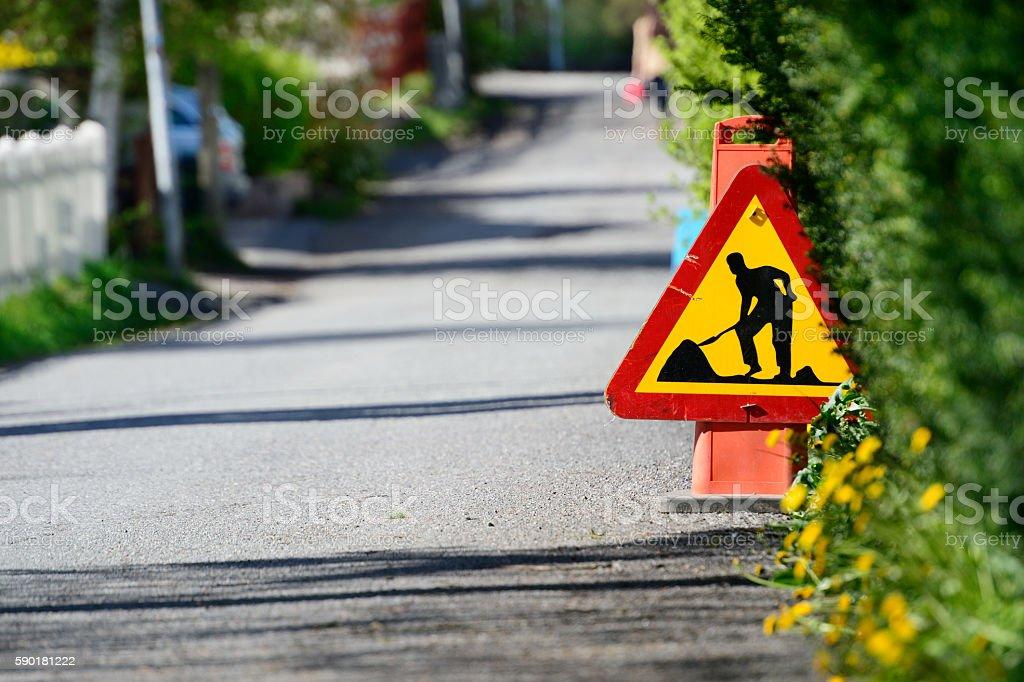 Roadwork on the road stock photo