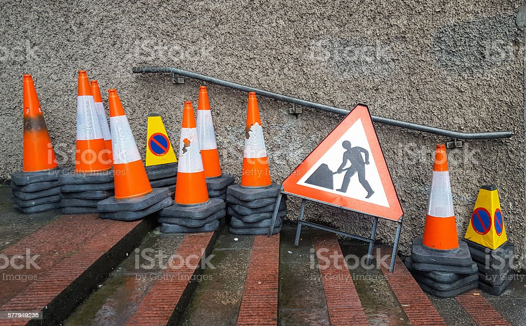 Roadworks cones and signs ready for use stock photo