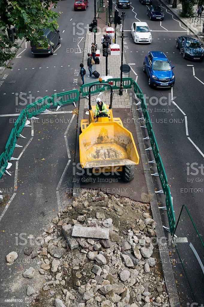 Roadworks on The Embankment, London stock photo