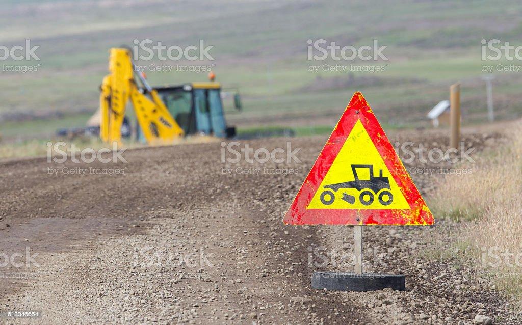 Roadworks sign - Iceland stock photo