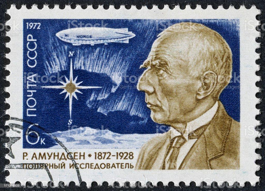 Roald Amundsen Stamp stock photo
