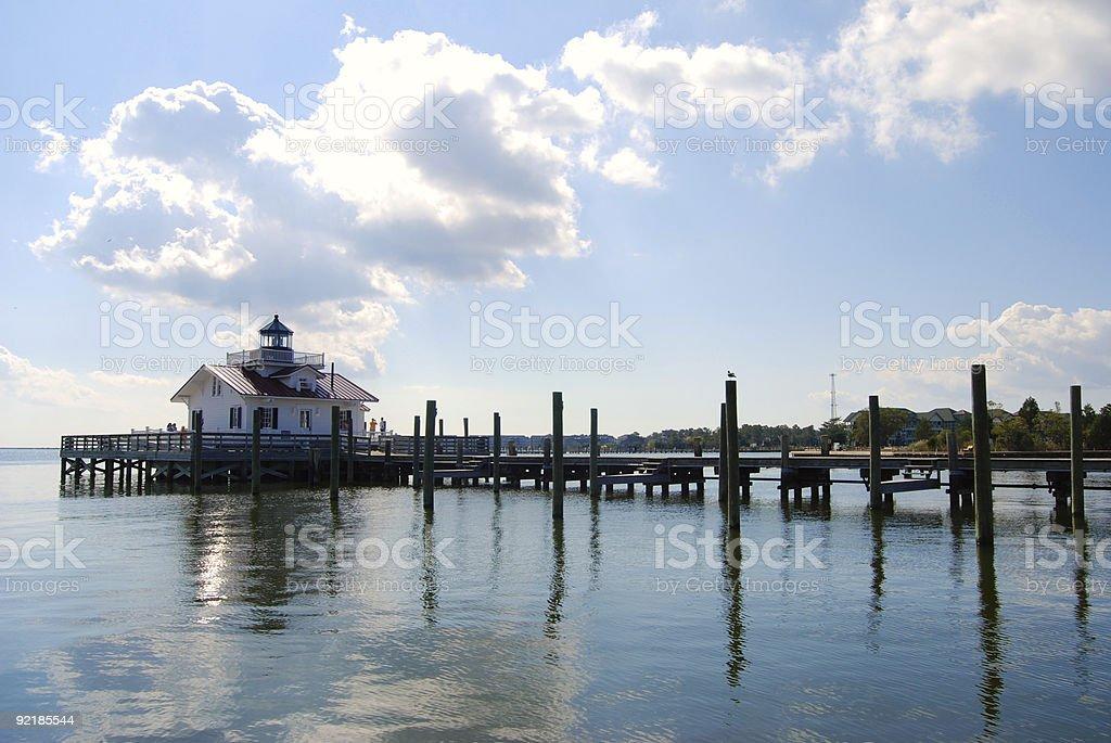 Roanoke Marshes Lighthouse and Pier - Manteo, NC stock photo