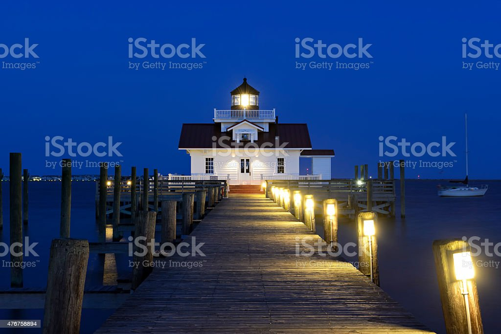 Roanoke Marshes Lighthouse at Twilight - Outer Banks stock photo