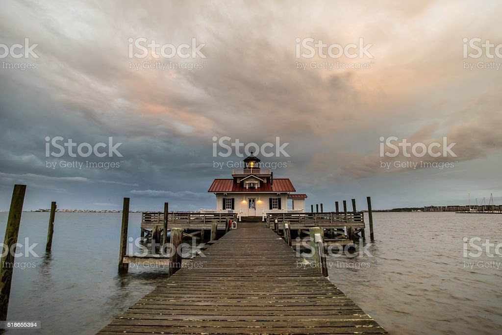 Roanoke Marshes Lighthouse in North Carolina stock photo