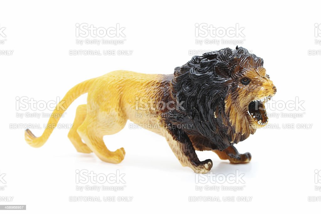 Roaring lion toy stock photo