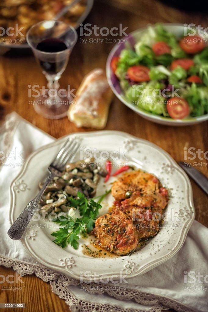 Roast and Mushrooms stock photo