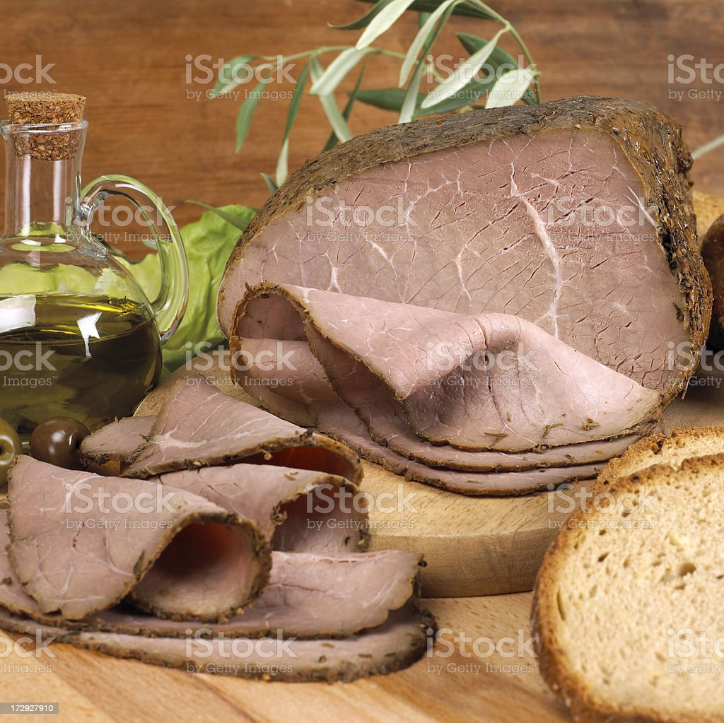 Roast beef and bread royalty-free stock photo