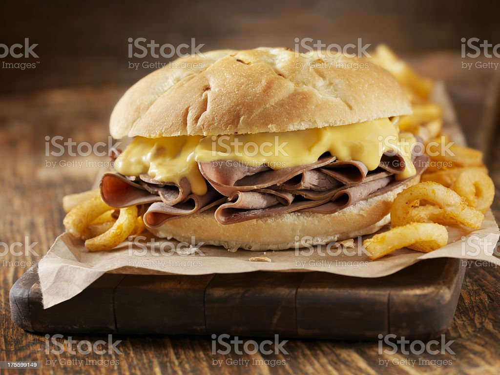 Roast Beef and Cheddar Sandwich stock photo