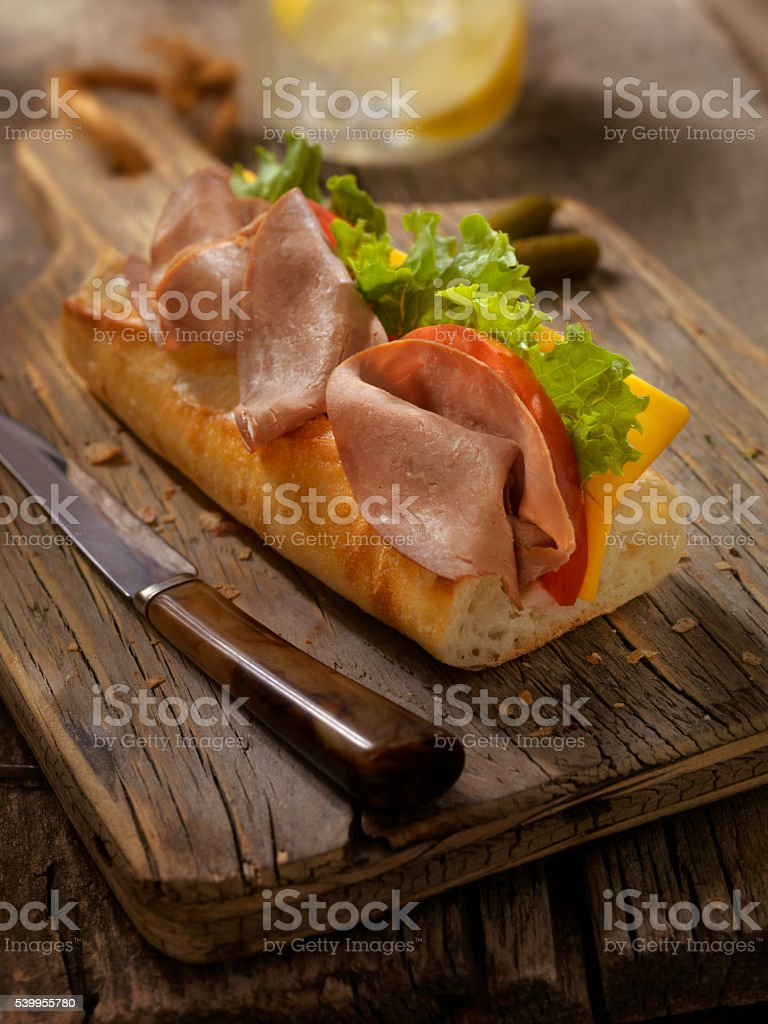 Roast Beef and Cheese Sandwich on a baguette stock photo