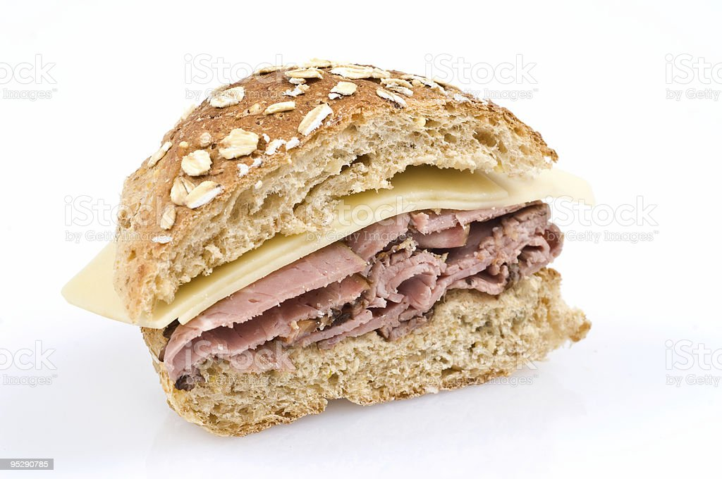 roast beef and cheese sandwich on whole wheat bread royalty-free stock photo
