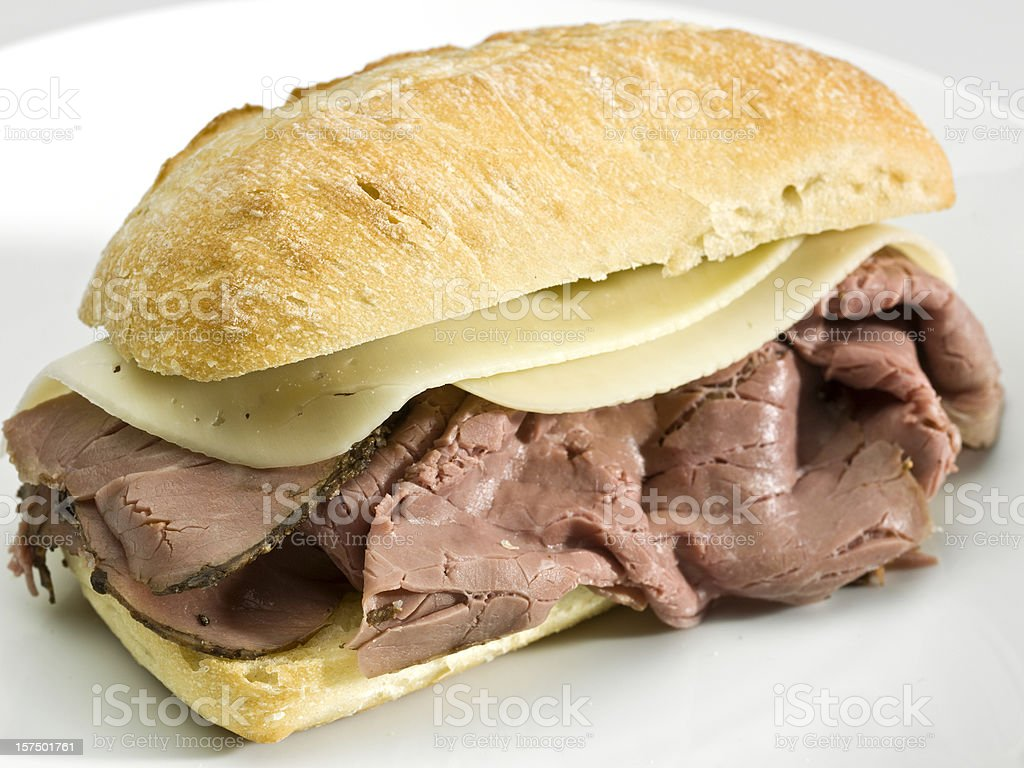 Roast beef and cheese sandwich stock photo