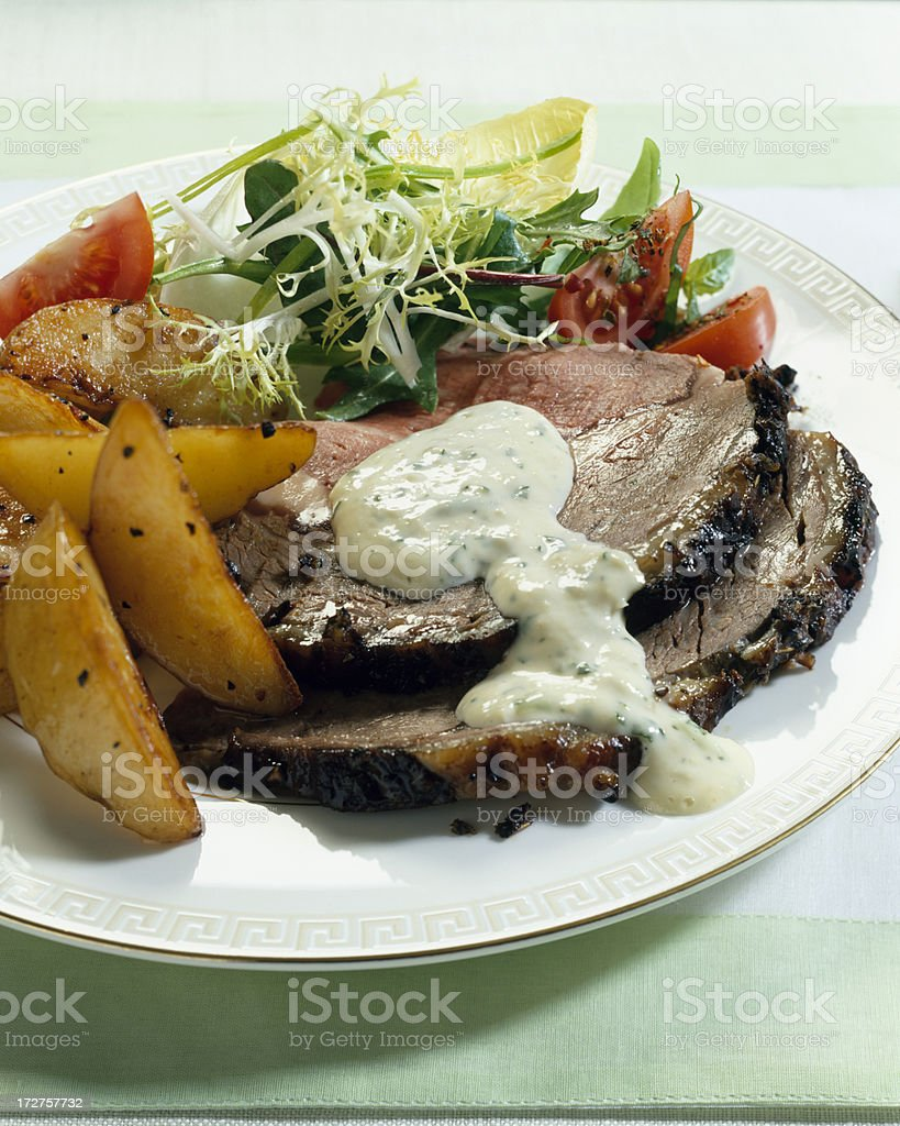 Roast Beef and potato with salad royalty-free stock photo