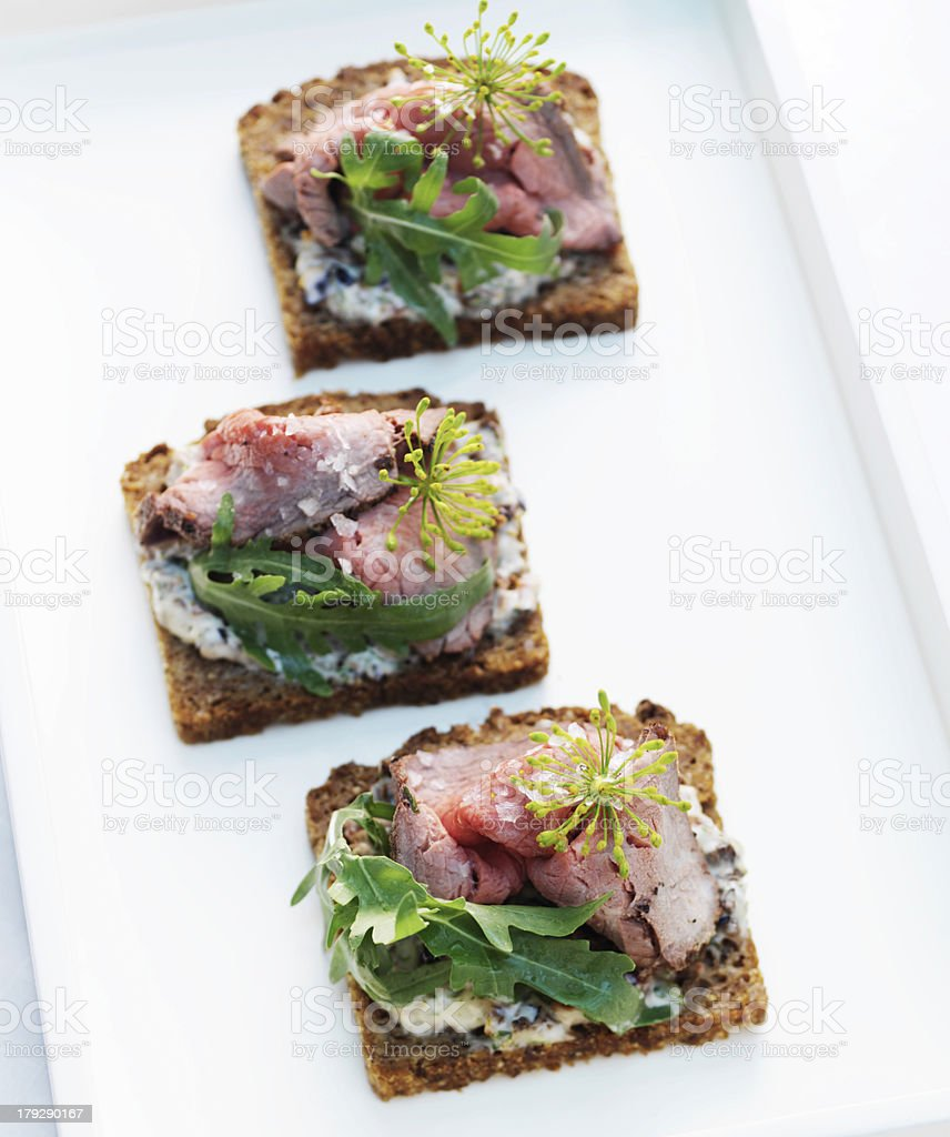 Roast Beef Appetizer royalty-free stock photo