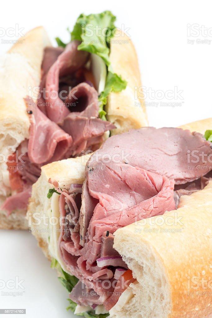 Roast beef baguette sandwich stock photo