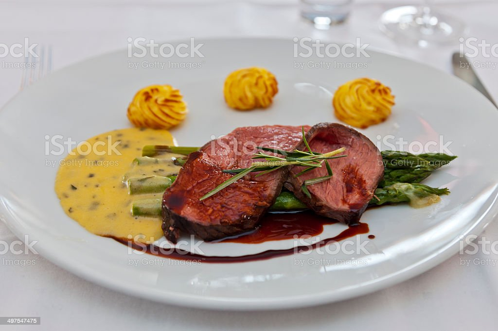 Roast Beef Bearnaise Sauce and Asparagus stock photo