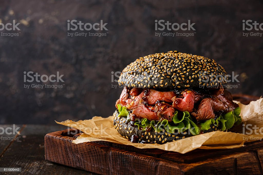 Roast beef Burger with sliced Pastrami stock photo