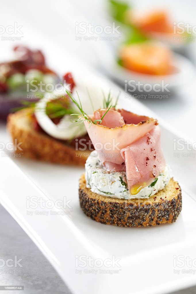 Roast beef canape stock photo