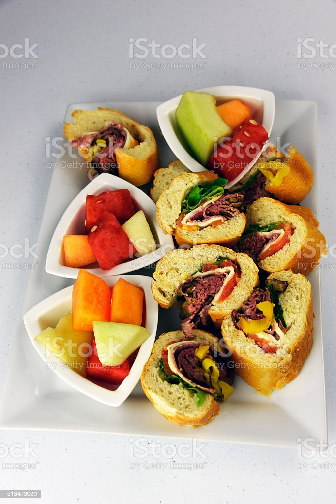 Roast Beef Deli Hoagie Appetizer on white background royalty-free stock photo